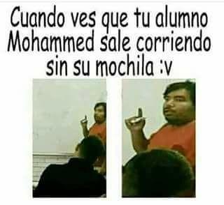 Meme Mohammed sin su mochila