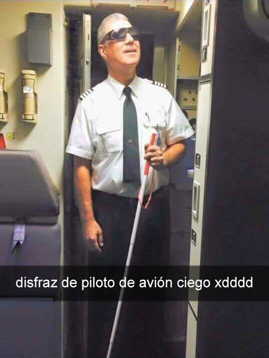 Meme Disfraz de piloto ciego